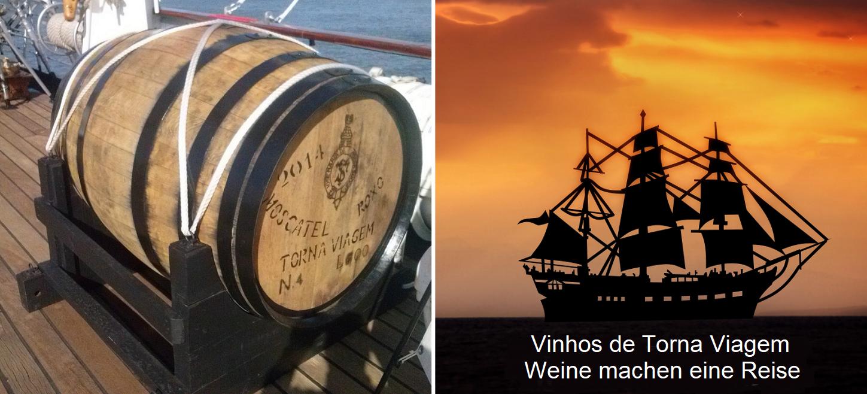 Vinhos de torna-viagem - barrel and sailing ship