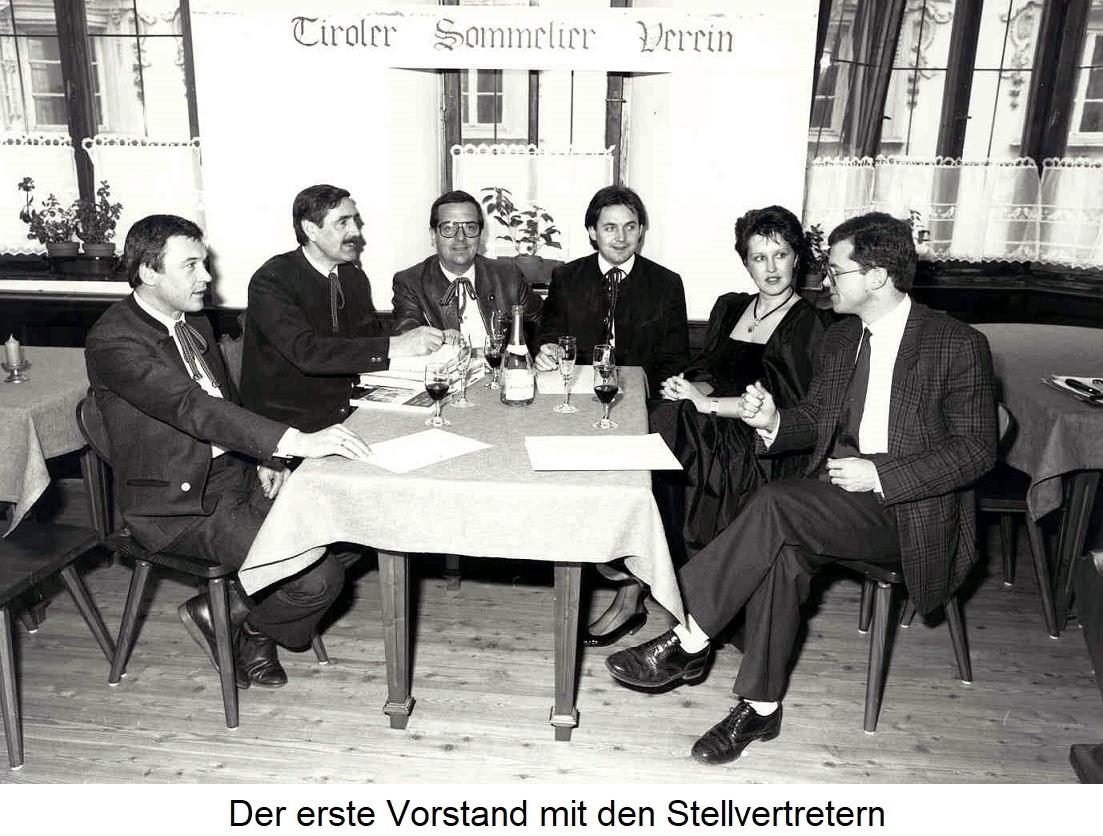 Tiroler Sommelierverein - Erster Vorstand mit Stellvertetern