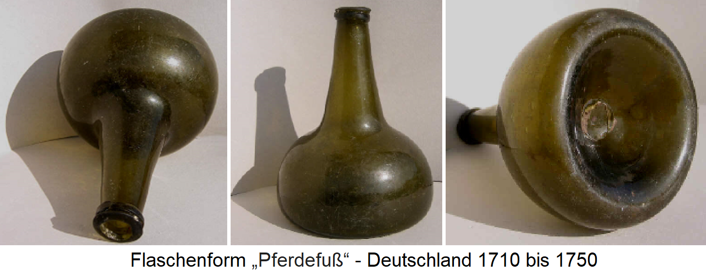 Bottles - bottle form 1710 to 1750 in Germany