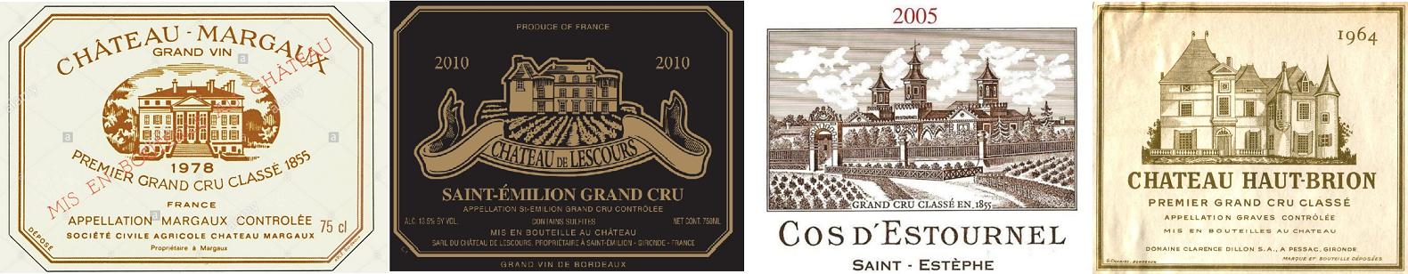 Grand Cru - Labels from Château Margaux, Château de Lescours, Cos s'Estournel, Château Haut-Brion