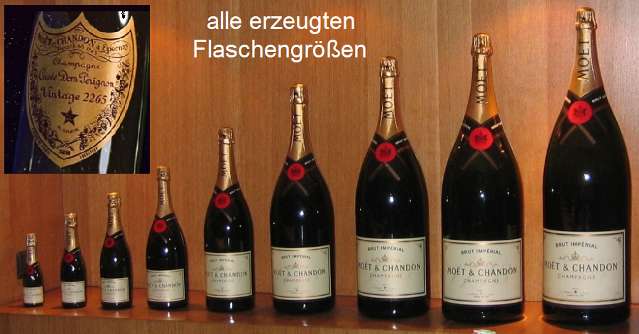 Moët et Chandon - all bottle sizes and label