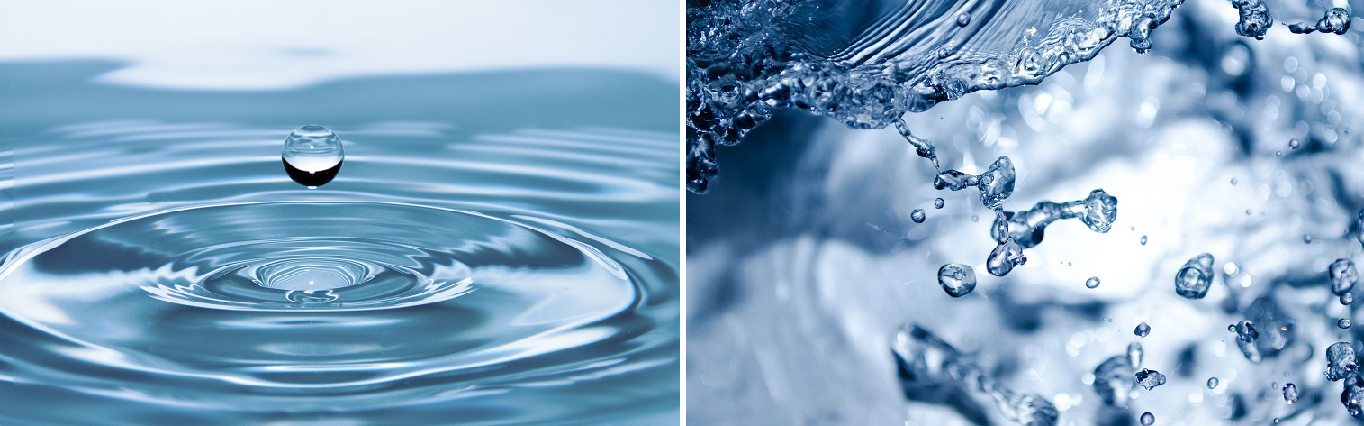 Water - drops of water and foaming water
