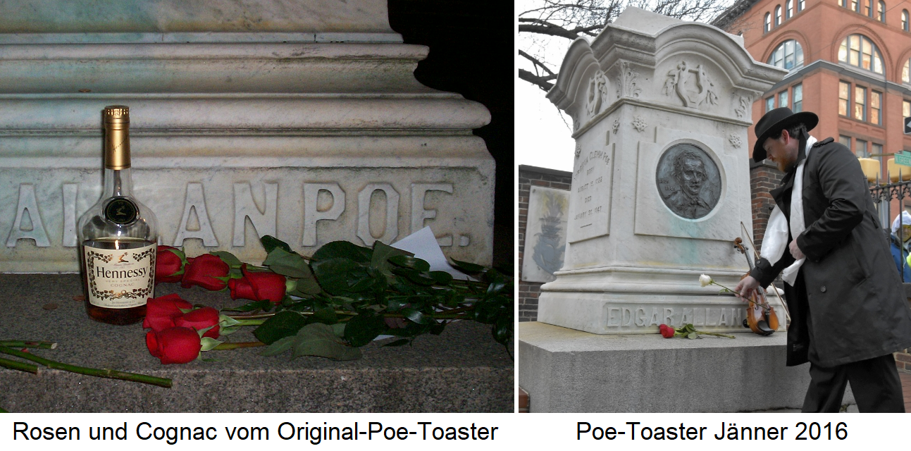 Poe toaster - Roses and cognac from the original and poe toaster from 2016