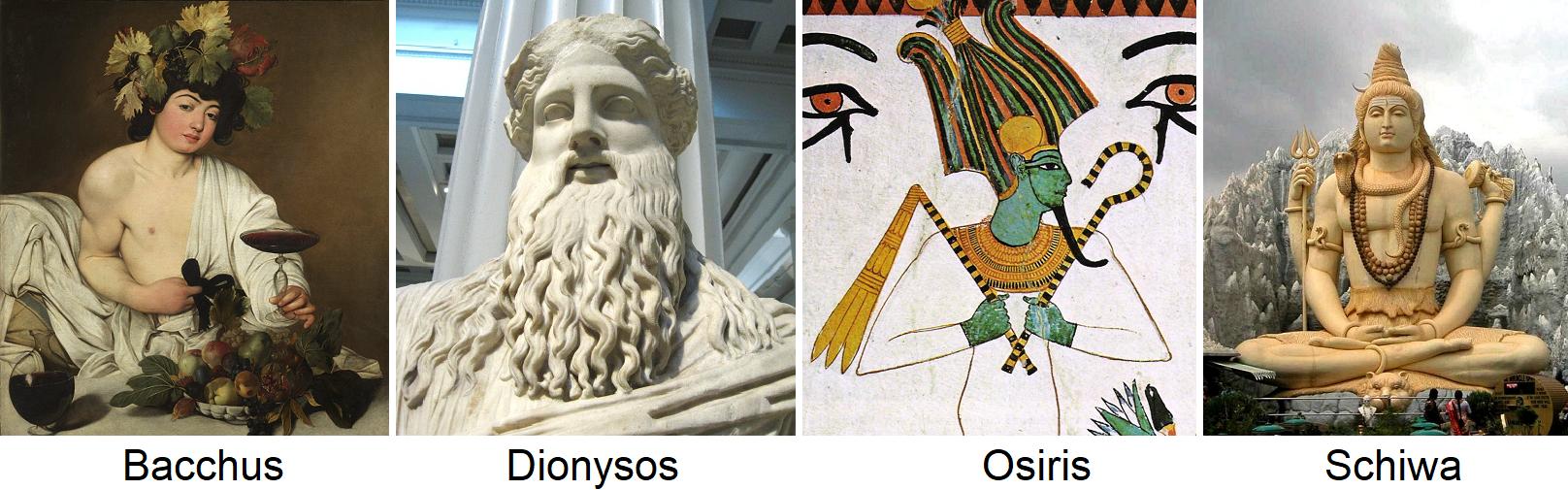 Weingötter - Bacchus, Dionysos, Osiris, Schiwa