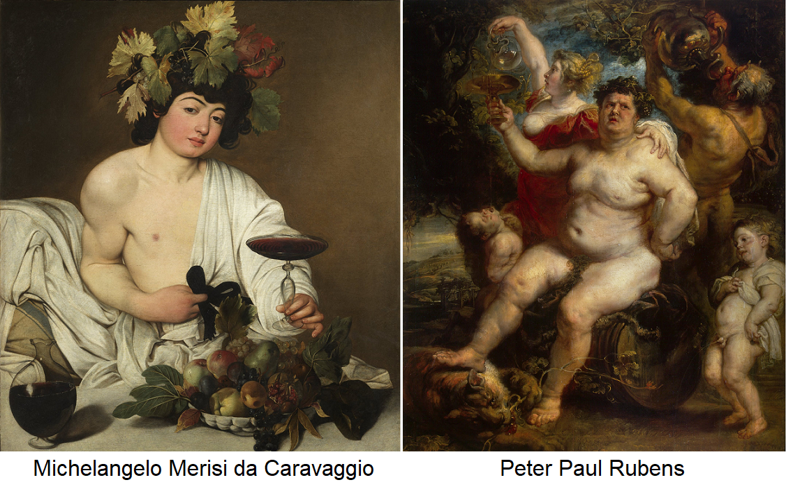 Bacchus - painting by Michelangelo Merisi da Caravaggio and Peter Paul Rubens