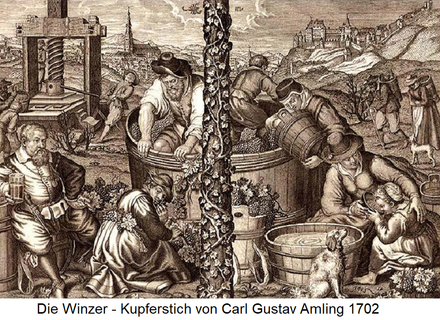 Customs in viticulture - the winegrowers (copper engraving by Carl Ludwig Amling 1702)