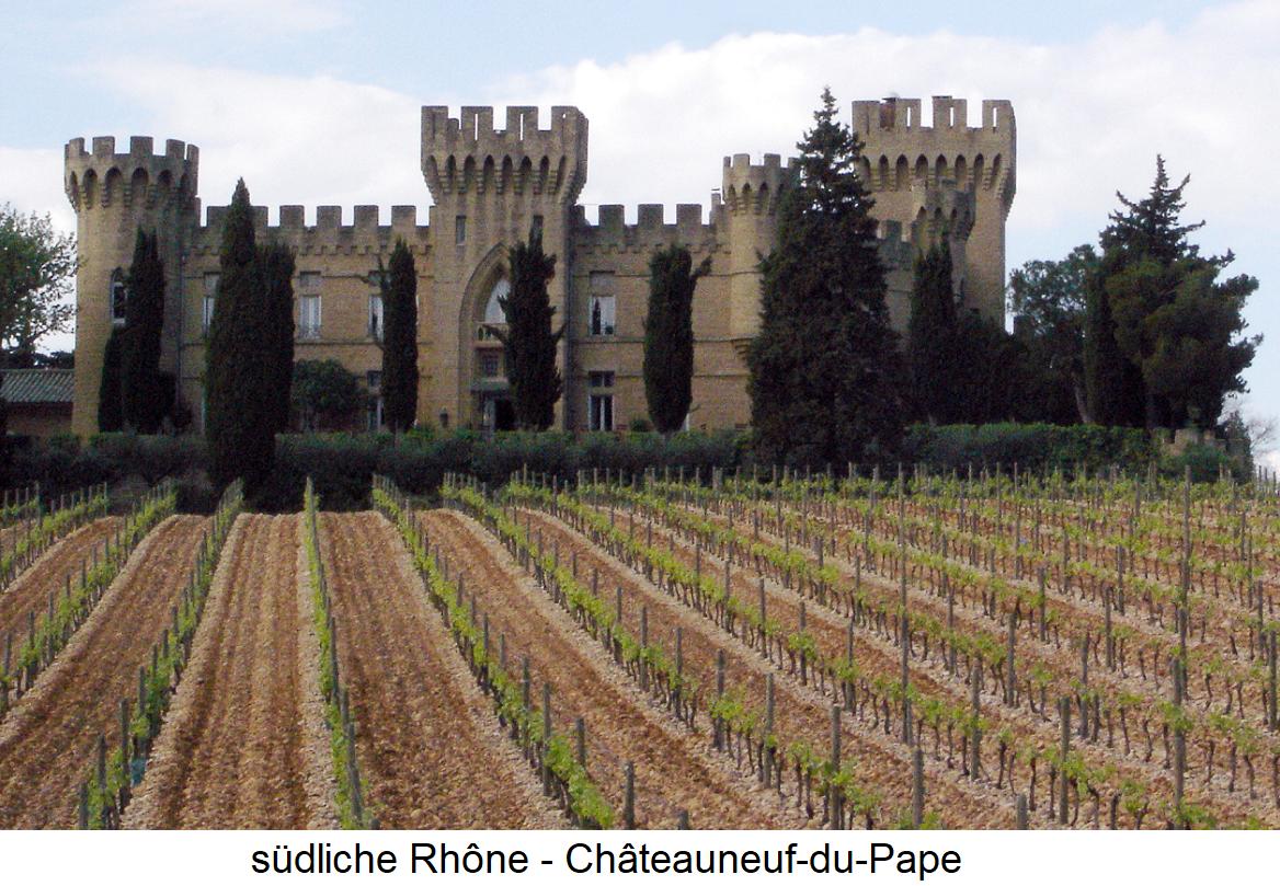 südliche Rhone - Rebfläche in Châteauneuf-du-Pape