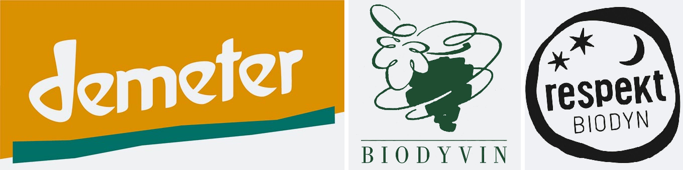 Biodynamic viticulture associations - logos of DEMETER, Biodyvin, respect BIODYN
