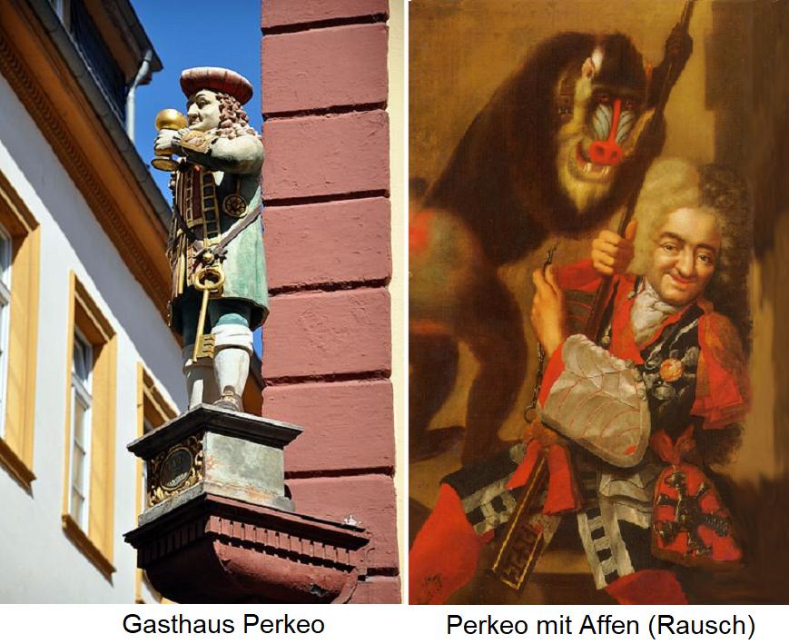 Perkeo - statue at Gasthaus Perkeo in Heidelberg and Perkeo with monkeys (Rausch)