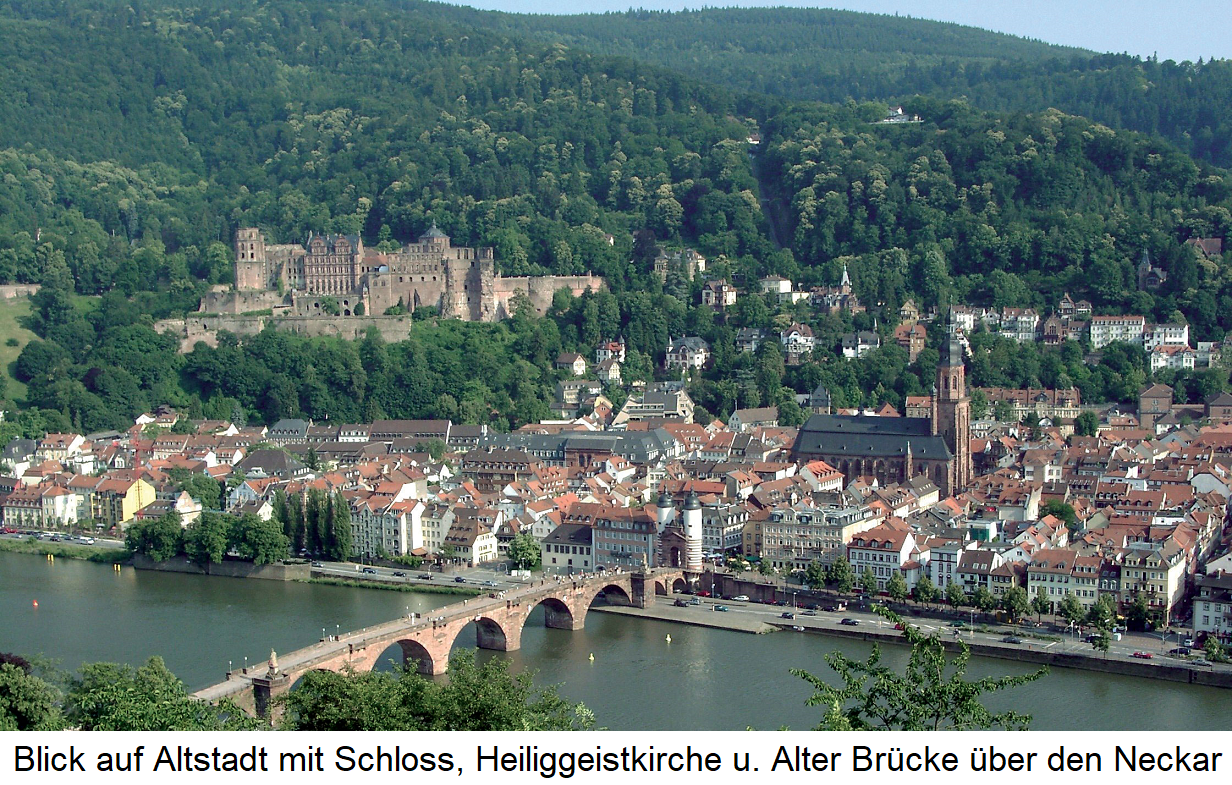 Heidelberg: View from the Philosophenweg to the old town with the castle, the Holy Spirit Church and the Old Bridge over the Neckar