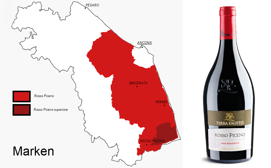 Rosso Piceno - Map of Marches and Rosso Piceno Bottle