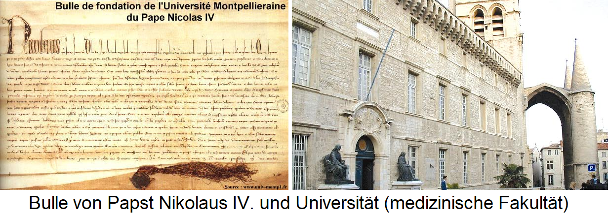 Montpellier - Bull of Pope Nicholas IV and University (Faculty of Medicine)
