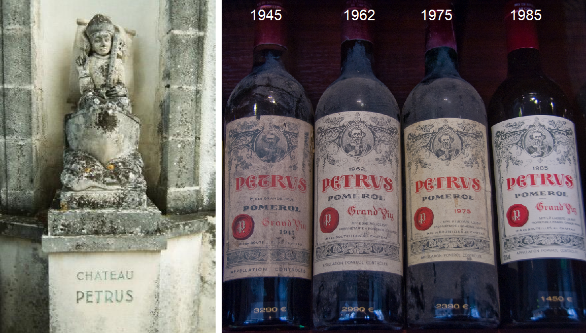 Peter's statue, bottles of Jg. 1945, 1962, 1975, 1985