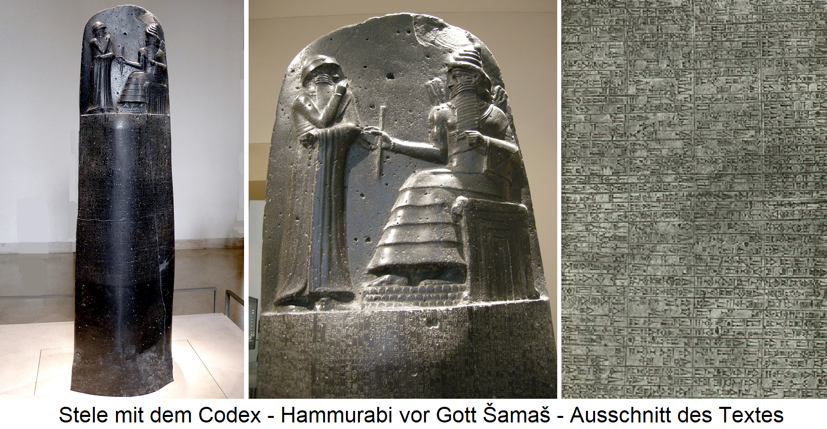 Stele with the Codex - Hammurabi in front of God Šamaš - Detail of the text
