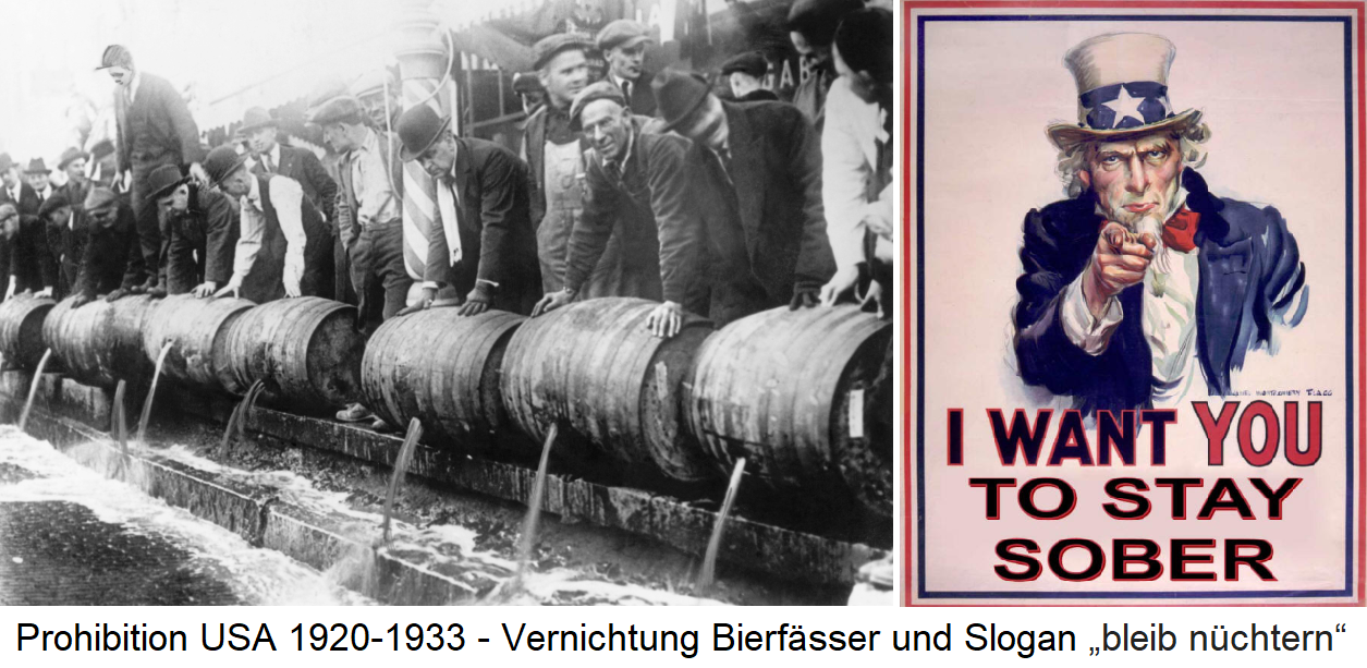 Prohibition USA 1920-1933 - Destruction of beer kegs and slogan