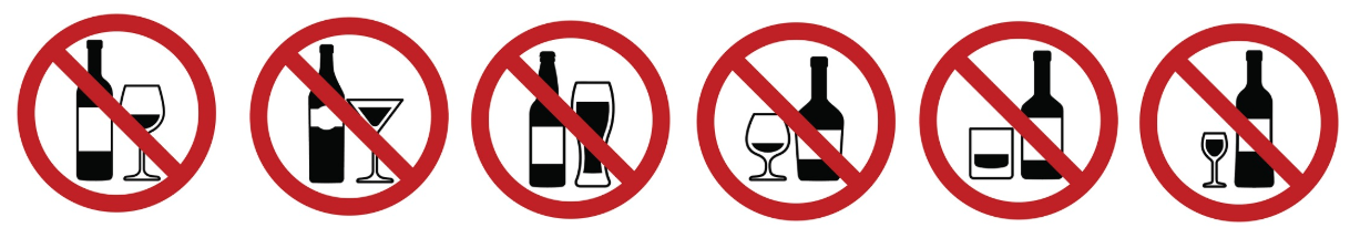 Prohibition - alcohol prohibition signs
