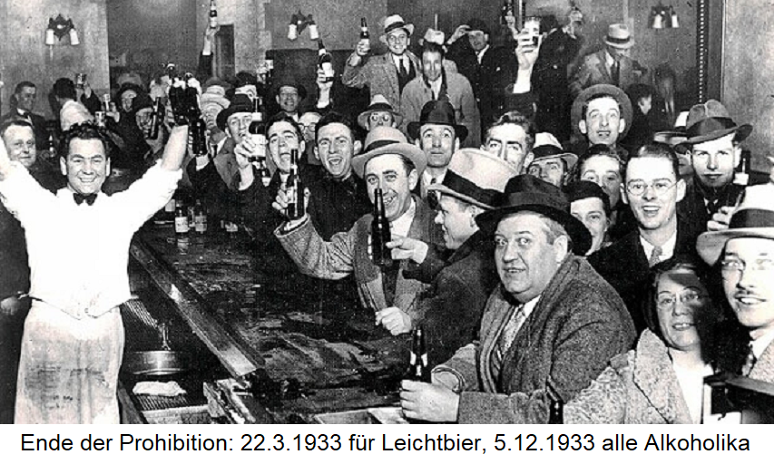 Prohibition end: March 22, 1933 light beer, 5.12.1933 all alcoholics