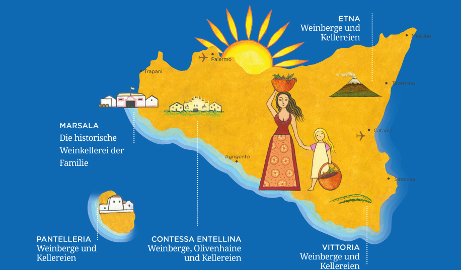 Donnafugata - map with the permanent establishments and vineyards