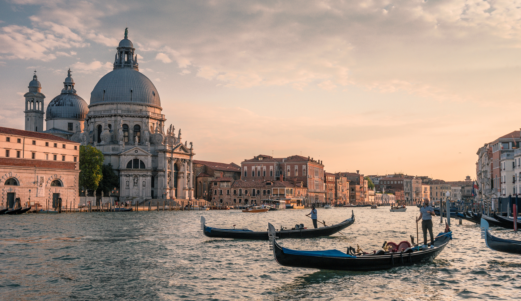 Venice - main canal with gondolas and city in the background
