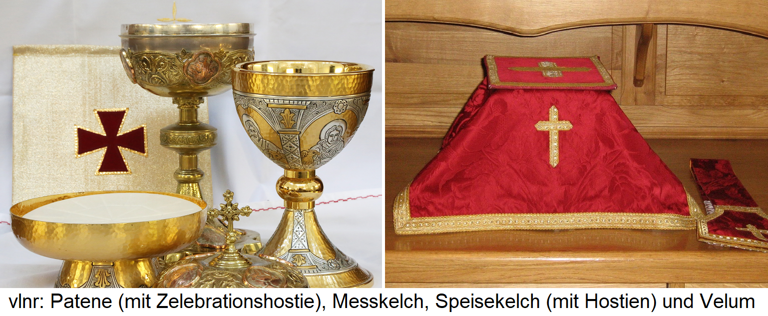Paten (Celebration Hostie), Chalice, Goblet (with Hosts) and Velum