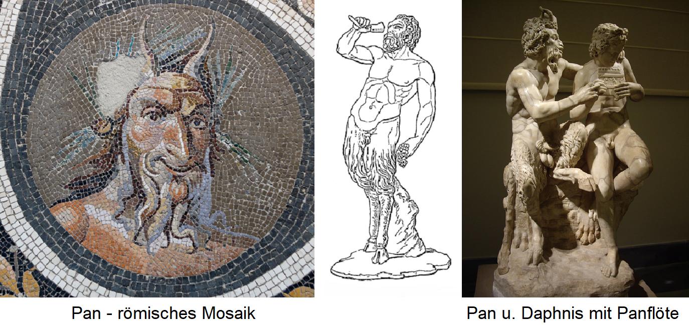 Pan - Roman Mosaic / Pan teaches Daphnis to play the pan flute
