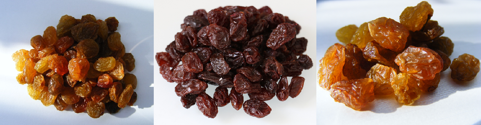 Raisins - three different servings of raisins