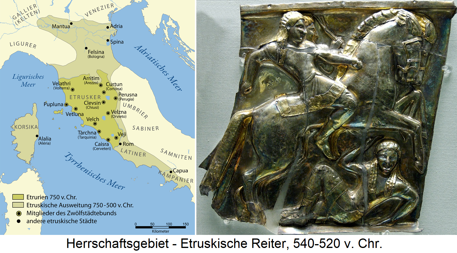Etruscans - territory (map) and Etruscan horsemen, 540-520 BC Chr.