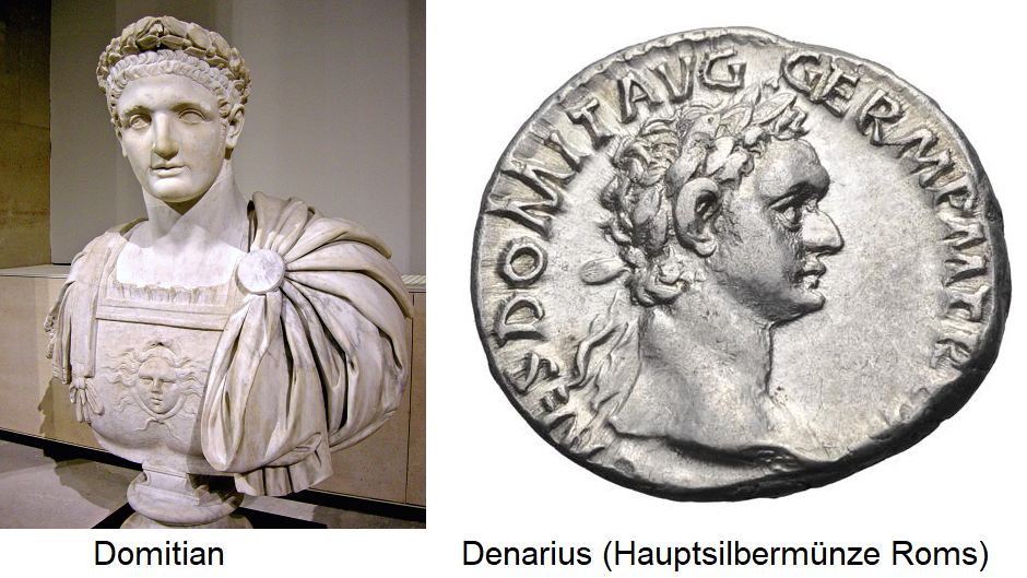 Domitian - Bust and Denarius (Rome's main silver coin)