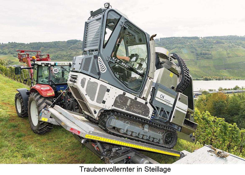 Grape harvesting machine in steep slope