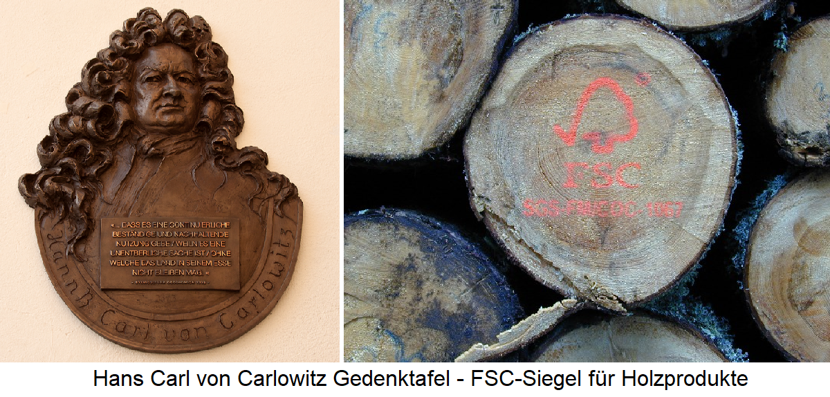 Sustainability - Carlowitz plaque and FSC seal for wood products