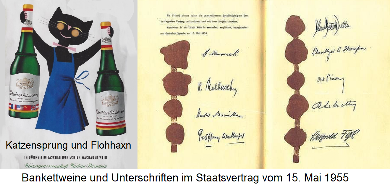 Wine bottles a stone's throw and flea knuckles / signatures in the 1955 State Treaty