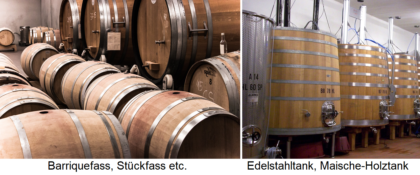 Barrel types - barrique, piece barrel, stainless steel tank, wooden mash tank