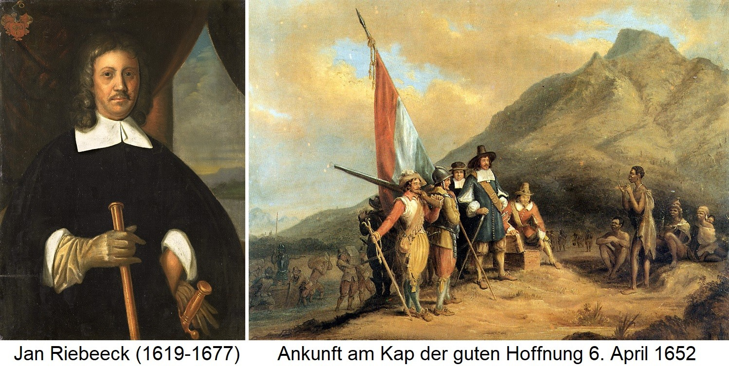 Jan Riebeeck - Portrait and arrival at the Cape of Good Hope on April 6, 1652