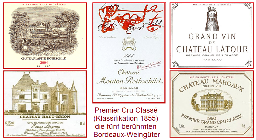 Bordeaux Classification 1855 - the labels of the 5 Premier Cru Classé