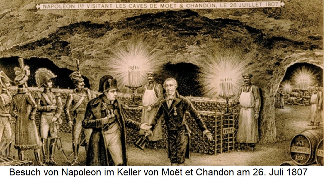 Napoleon in the cellar of the champagne house Moët et Chandon