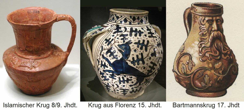 Krug - Islamic jug 8/9 century, jug from Florence 15th century and Bartmann jug 17th century