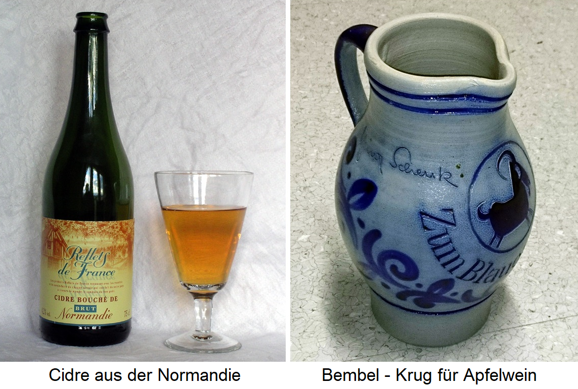Cider - bottle of cider from Normandy, Bembel - pitcher for cider