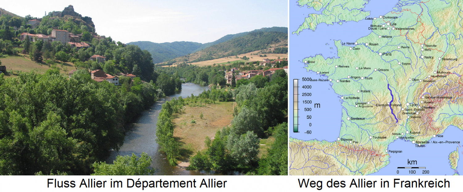 Oak - River Allier in the department of Allier and map with river in France