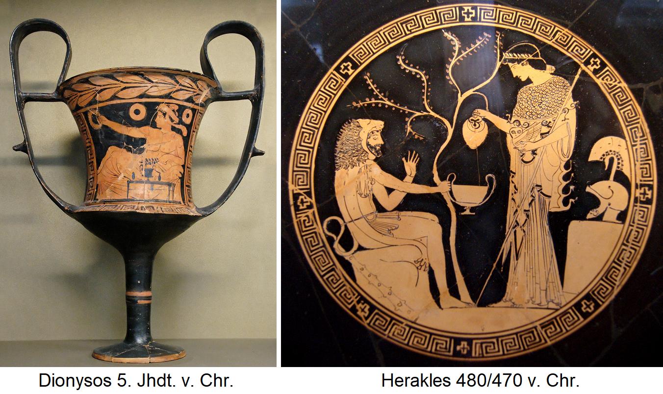 Kantharos - Dionysus 5th century v. BC and Heracles 480/470 BC Chr.