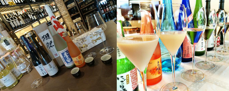 Sake - shelf with lots of bottles - different sake