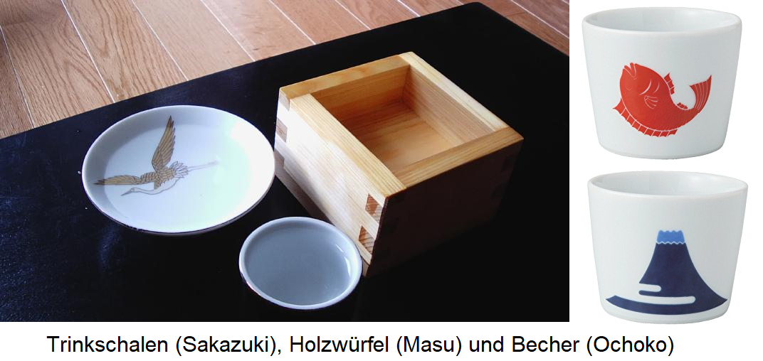 Drinking bowls (Sakazuki), masu (wooden cubes) and cups (ochoko)