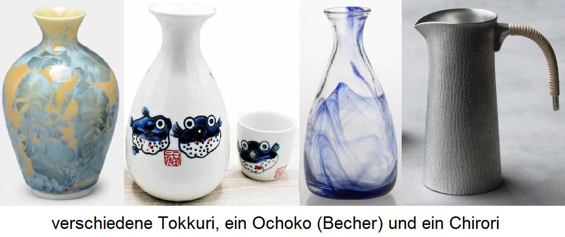 various tokuri, an ochoko (mug) and a chirori