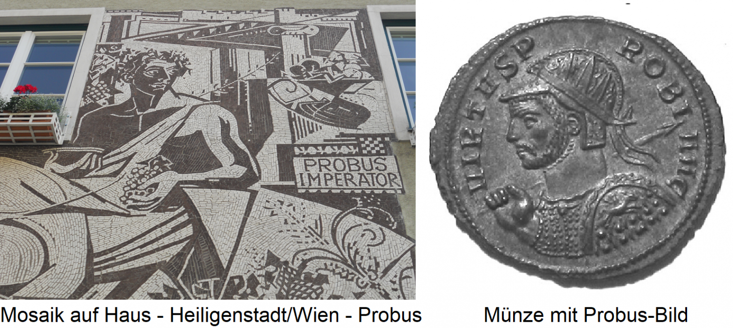 Probus - mosaic on house in Heiligenstadt / Vienna and coin with Probus picture