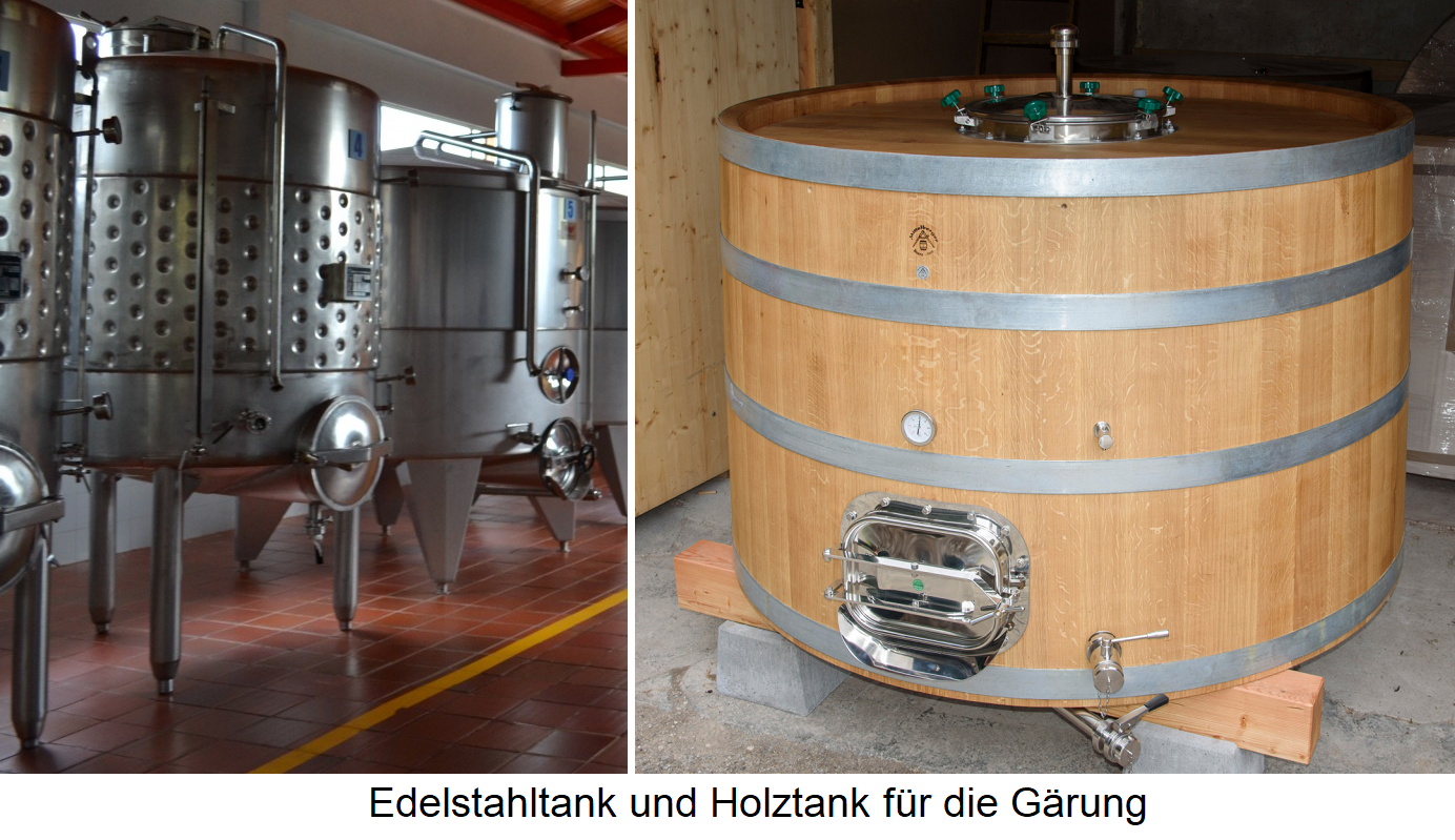 Fermenter - stainless steel tank and wooden tank