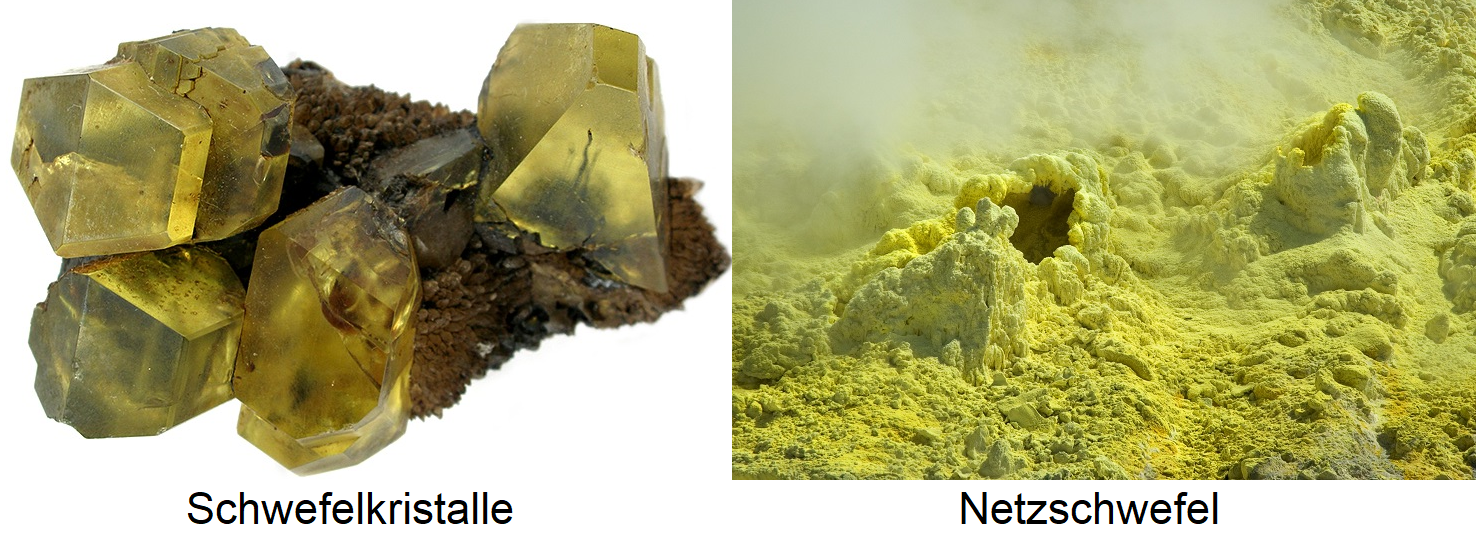 Sulfur - sulfur crystals and net sulfur