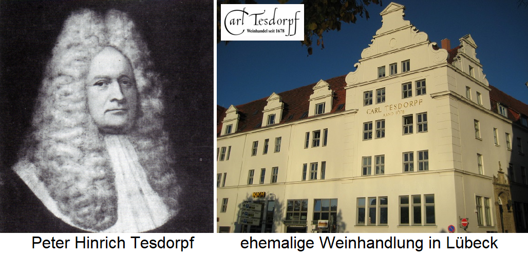 Carl Tesdorpf - Portrait of Peter Hinrich Tesdorpf and the building of the former wine shop
