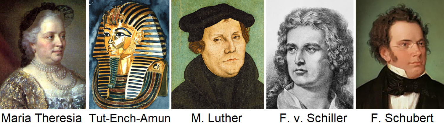 Favorite Wines - Maria Theresa, Tut-Ench-Amun, Luther, Schiller, Schubert