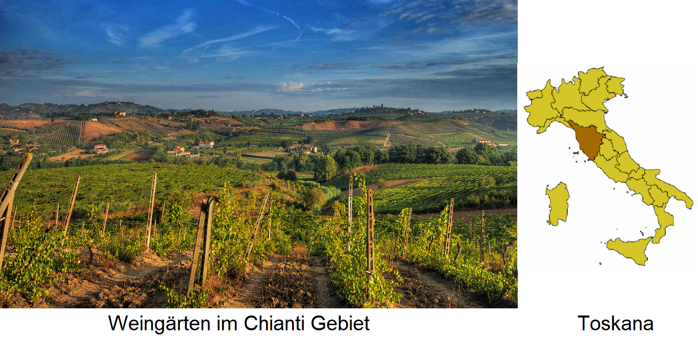 Tuscany - Chianti vineyards and map