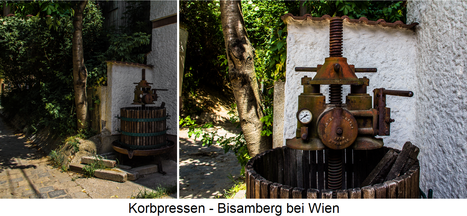 Basket presses - on the Bisamberg near Vienna in front of an old wine cellar