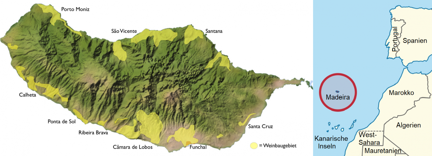 Madeira - Map of wine-growing areas and map position